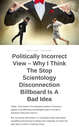 Politically Incorrect View – Why I Think The Stop Scientology Disconnection Billboard Is A Bad Idea